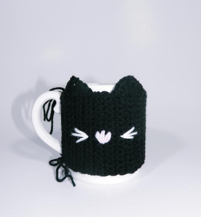 Cana cu hainuta crosetata pisica, negru 3