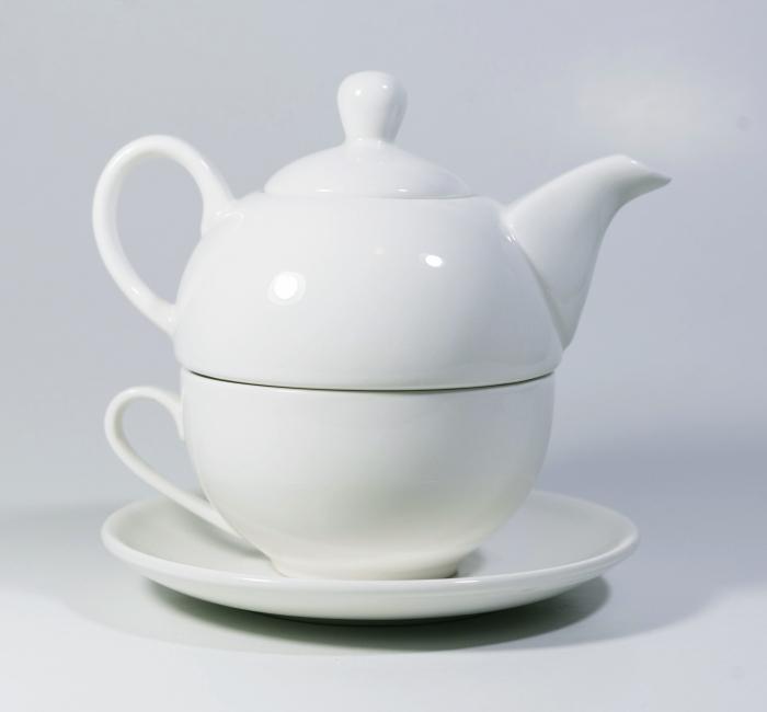 Set cu ceainic, ceasca si farfurie, portelan, Alb, 500 ml 0