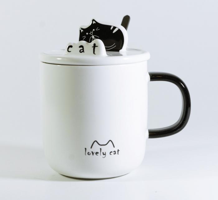 Cana cu lingurita si capac, model Pisica, Negru 300ml 0