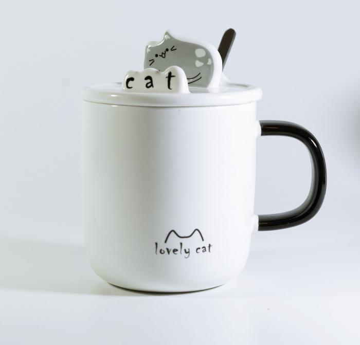 Cana cu lingurita si capac, model Pisica, Gri 300ml 0