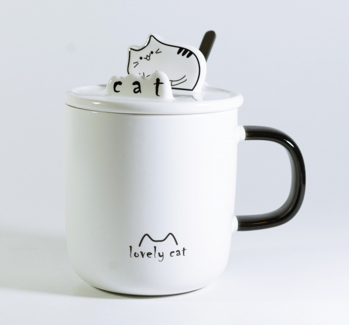 Cana cu lingurita si capac, model Pisica, Alb, 300ml 0