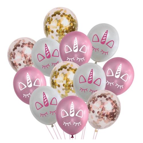 Set 12 Baloane Aniversare cu confetti, Model Unicorn, Roz Auriu, 30 cm [0]