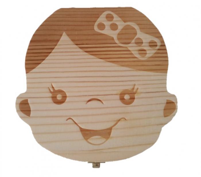 Cutie de lemn pentru pastrarea dintilor de lapte, fata [0]