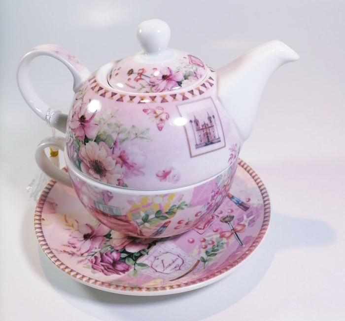 Set cu ceainic, ceasca si farfurie, portelan, Multicolor, 500 ml 1