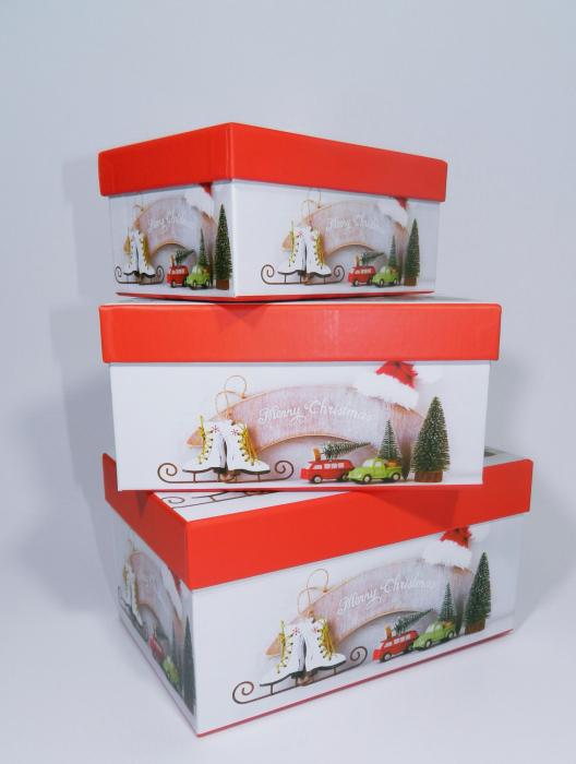 Cutie Cadouri Craciun cu model, Multicolor,19 x 8 x 13 cm 2