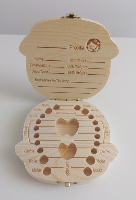 Cutie de lemn pentru pastrarea dintilor de lapte, fata [1]