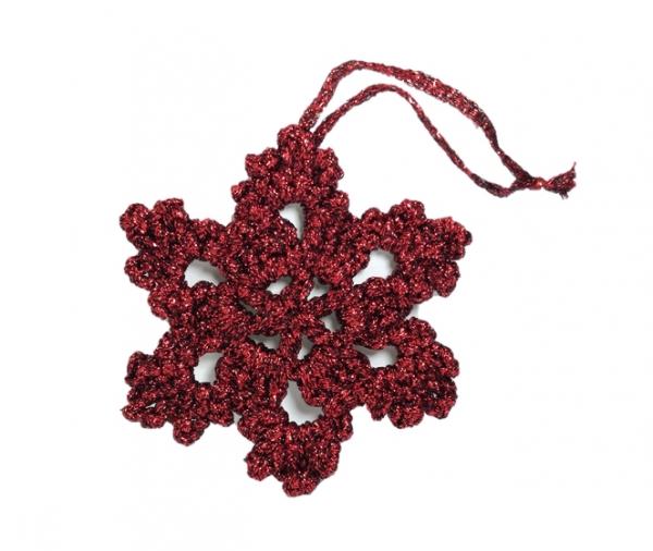 Decoratiune Craciun, Fulg de zapada, Handmade, Crosetat, Rosu, 8 x 8 cm