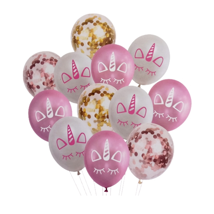Set 12 Baloane Aniversare cu confetti, Model Unicorn, Roz Auriu, 30 cm [1]