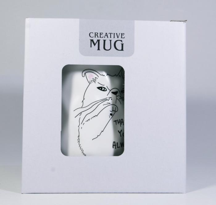 Cana cu lingurita si capac, model Pisica morocanoasa, Alb, 300ml 1
