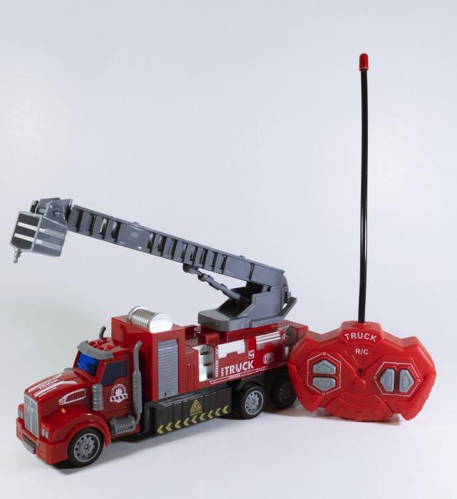 Camion Pompieri Autoscara cu Telecomanda, Lumini si Sunete 20 cm, Multicolor [2]