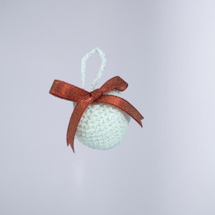 Glob Craciun, Handmade, Crosetat, Alb, 5 x 5 cm