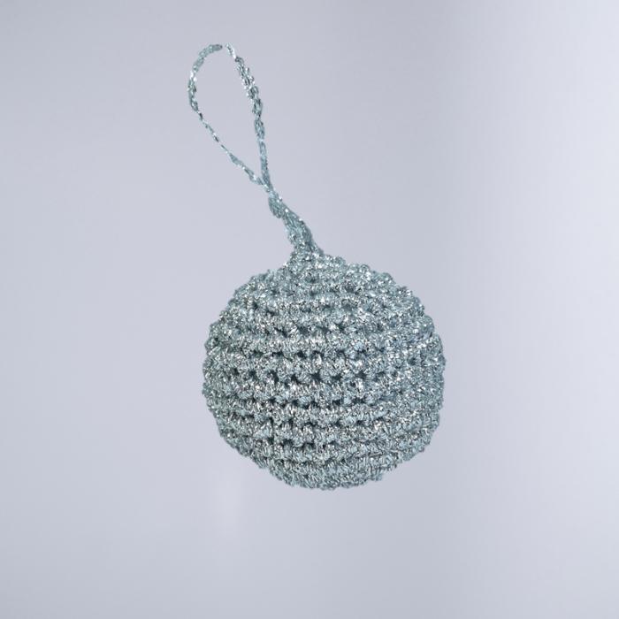 Glob Craciun, Handmade, Traditional, Crosetat, Argintiu, 5 x 5 cm