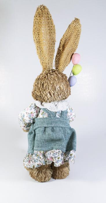Iepuras Paste Fata cu balonase textil fibre naturale 30 cm 1