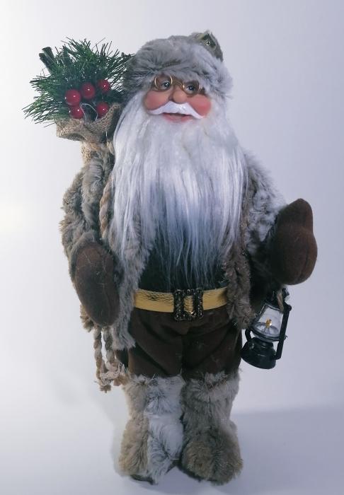 Mos Craciun, cu pulover gri, sac de cadouri si felinar, 30 cm, Gri 0