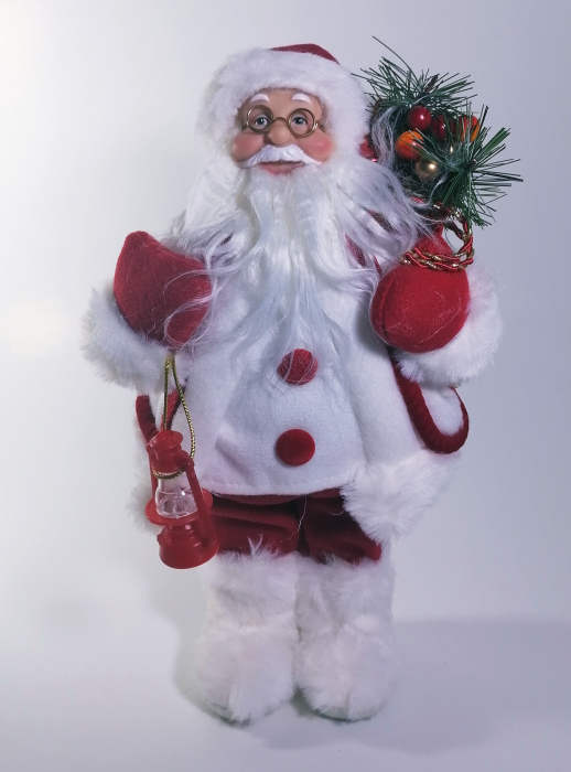 Mos Craciun, cu pulover alb, sac de cadouri si felinar, 30 cm, Multicolor 0