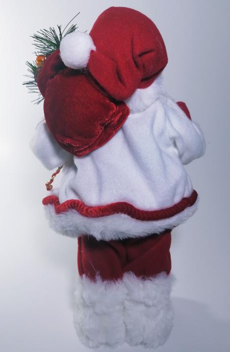 Mos Craciun, cu pulover alb, sac de cadouri si felinar, 30 cm, Multicolor 2