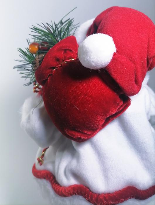 Mos Craciun, cu pulover alb, sac de cadouri si felinar, 30 cm, Multicolor 3