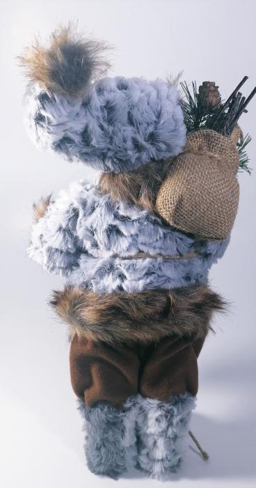 Mos Craciun, cu pulover gri, sac de cadouri si felinar, 30 cm, Gri 2