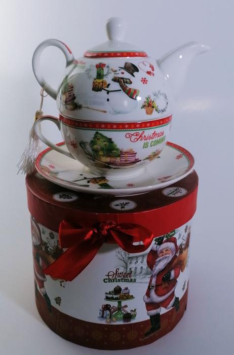 Set ceainic Craciun cu ceasca si farfurie, portelan, Multicolor, 500 ml 1