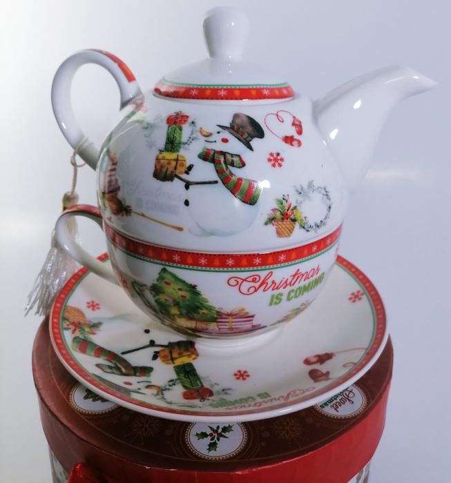 Set ceainic Craciun cu ceasca si farfurie, portelan, Multicolor, 500 ml [4]