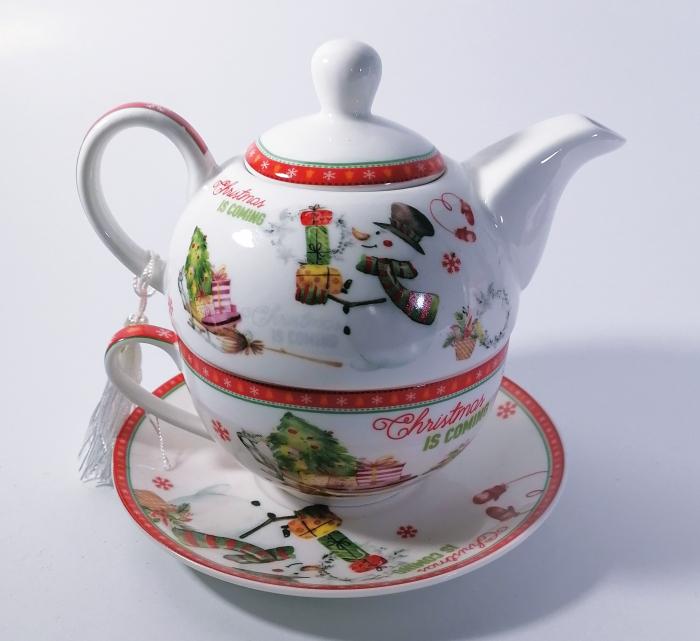 Set ceainic Craciun cu ceasca si farfurie, portelan, Multicolor, 500 ml 2