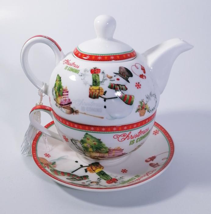 Set ceainic Craciun cu ceasca si farfurie, portelan, Multicolor, 500 ml 0