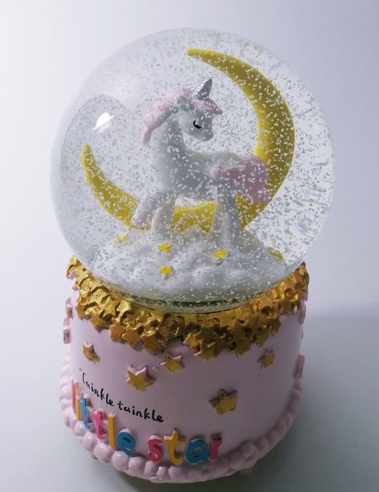 Glob muzical de zapada, model Unicorn, multicolor, 14cm 2
