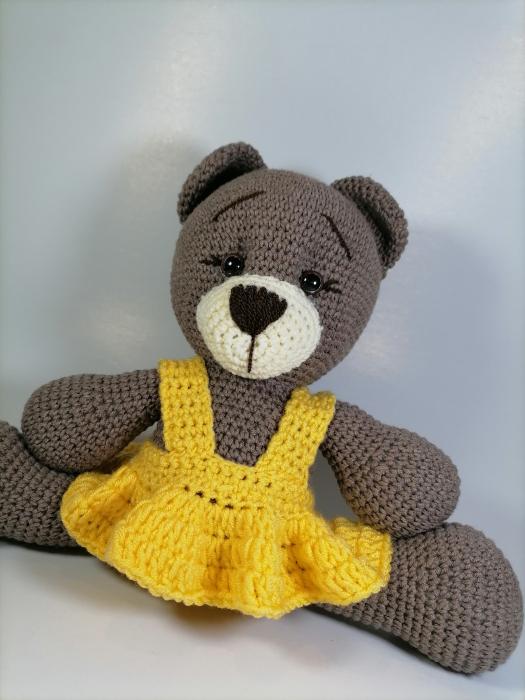 Jucarie crosetata manual, Ursulet cu rochita galbena, 30 cm [3]