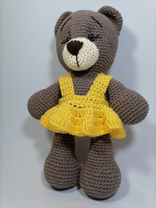 Jucarie crosetata manual, Ursulet cu rochita galbena, 30 cm [2]