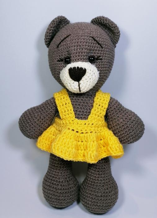 Jucarie crosetata manual, Ursulet cu rochita galbena, 30 cm [0]