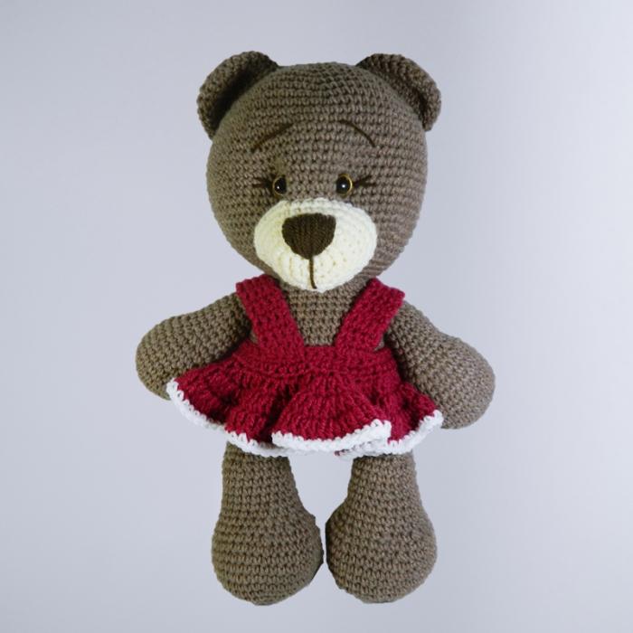 Jucarie crosetata manual, Ursulet cu rochita roz 0