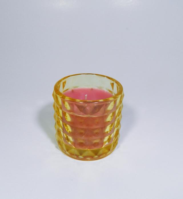 Lumanare decorativa parfumata in borcan galben, 7cm 1