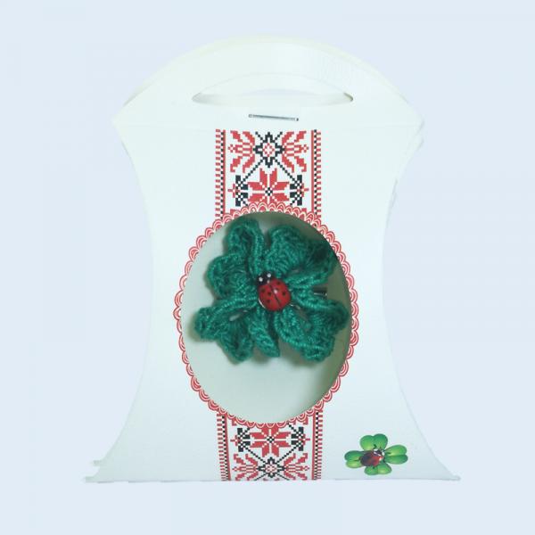 Martisor Brosa, Crosetat Manual, Trifoi, Verde, 4 cm
