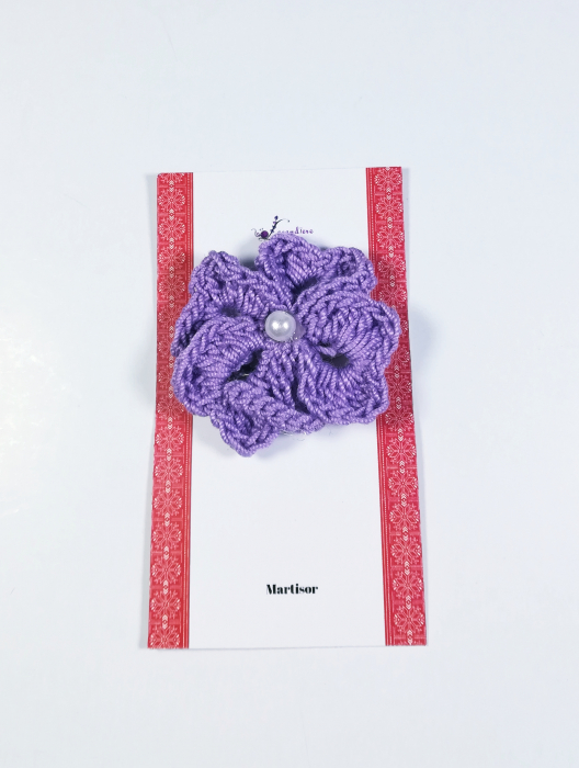 Martisor Brosa, Crosetat Manual, Trifoi, Mov, 4 cm 0