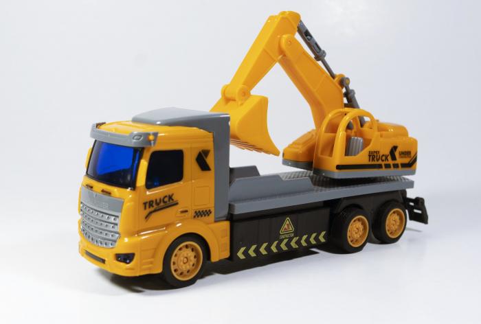 Camion Escavator cu Telecomanda, Lumini si Sunete 20 cm, Multicolor 0