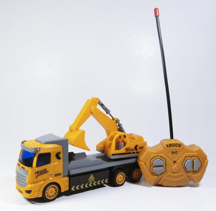 Camion Escavator cu Telecomanda, Lumini si Sunete 20 cm, Multicolor 1