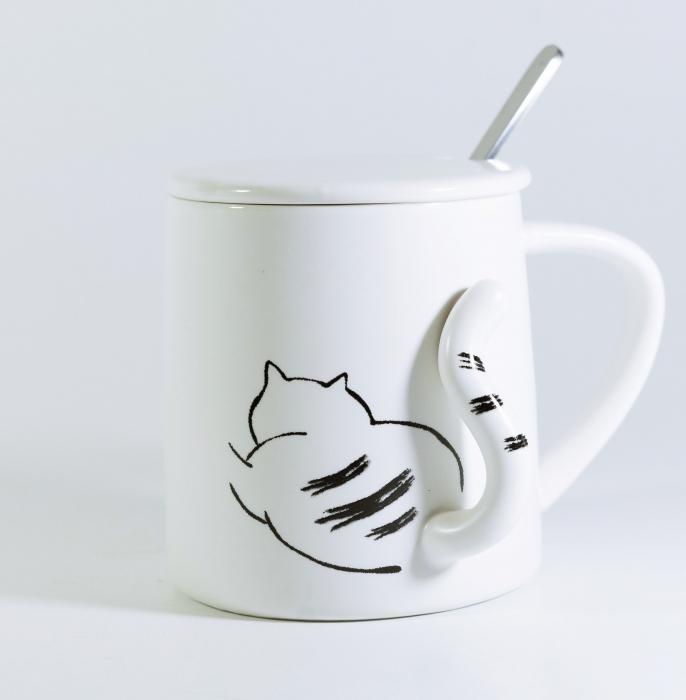 Cana cu lingurita si capac, model Pisica, 300ml [0]