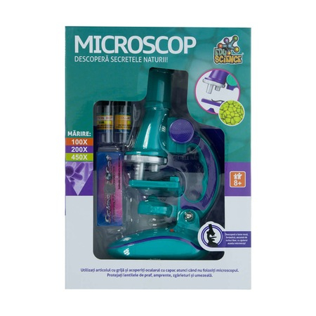 Microscop de stiinte de dezvoltare ,educativ, cu lumina LED, 100X 200X 450X Marire ,pentru copii, Multicolor 0