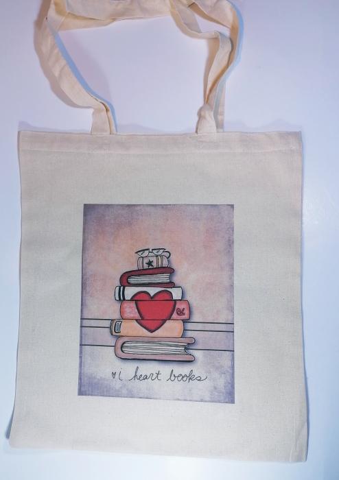 """Sacosa bumbac de umar """" Books """", 38x42, Crem 0"""