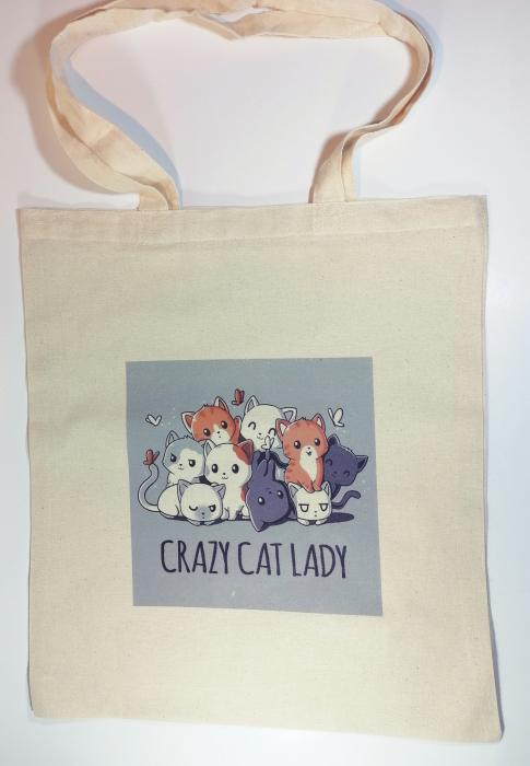 """Sacosa bumbac de umar """" Crazy Cat Lady """", 38x42, Crem 0"""