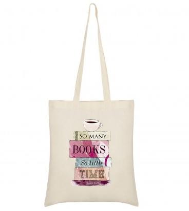 """Sacosa bumbac de umar """" Books """", 38x42, Crem"""