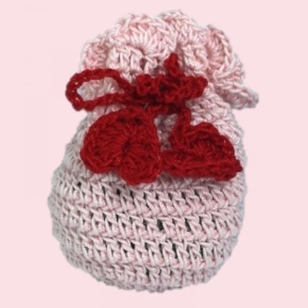 Saculet crosetat manual, Umplut cu flori de lavanda, roz deschis, 0