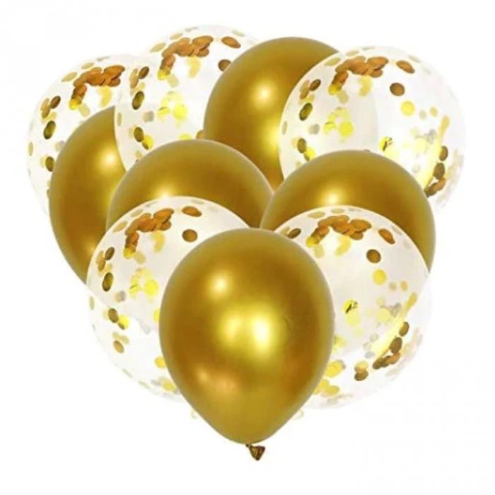 Set 10 baloane cu confetti, culoare auriu, 30 cm [0]