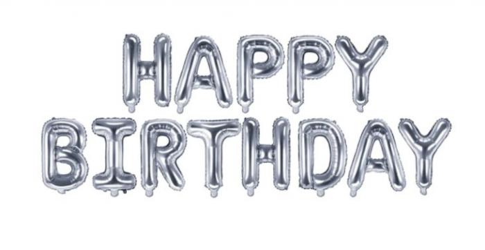 Set baloane folie Happy Birthday, Argintiu [0]