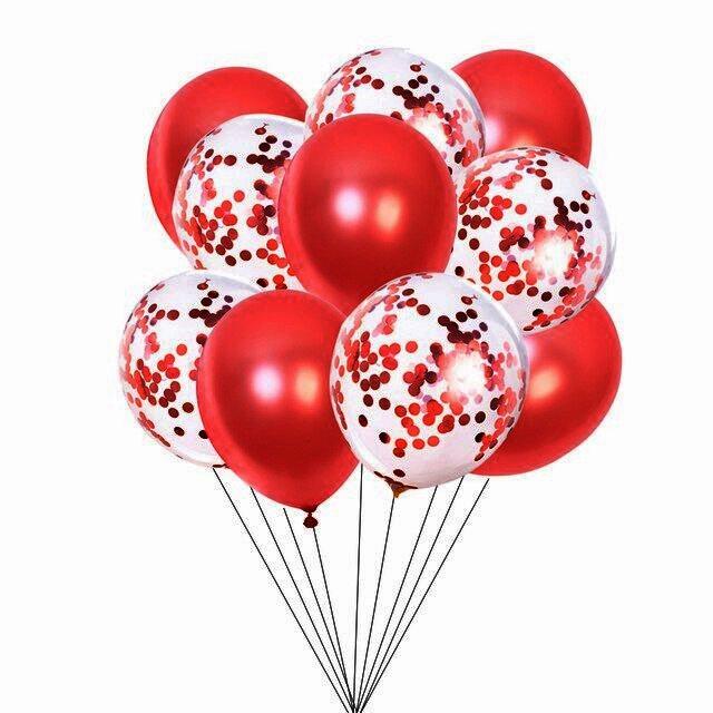 Set 10 Baloane Pentru Petrecere, Rosu/Confetti [0]
