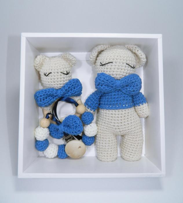 Set cadou jucarii bebelusi, 3 piese crosetate, Albastru 0