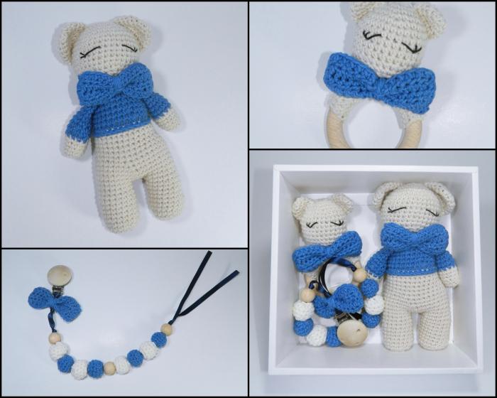 Set cadou jucarii bebelusi, 3 piese crosetate, Albastru 5