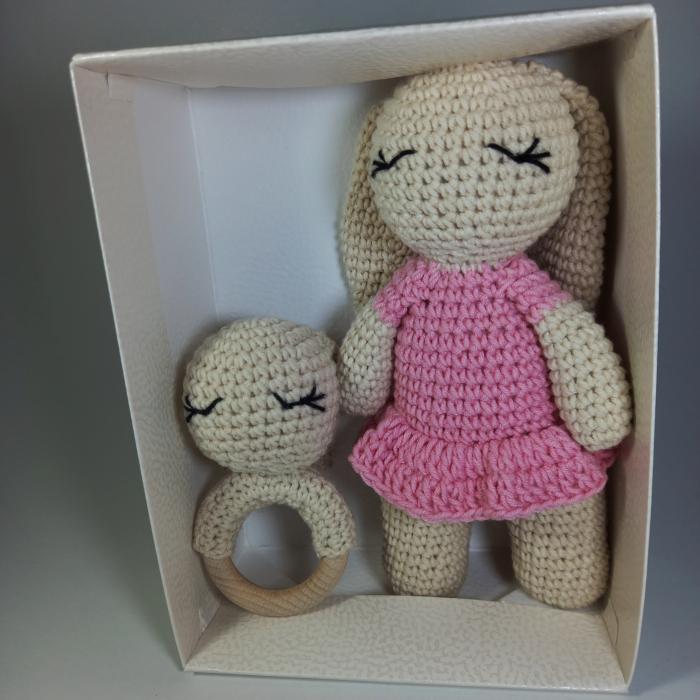 Set cadou jucarii bebelusi, 2 piese crosetate, Personalizat Roz [4]