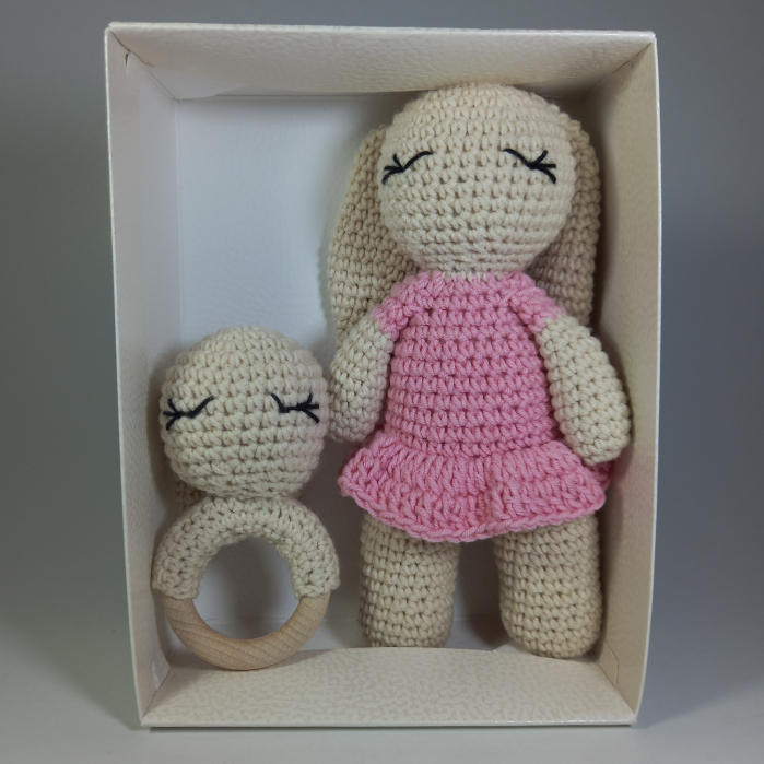 Set cadou jucarii bebelusi, 2 piese crosetate, Personalizat Roz [1]