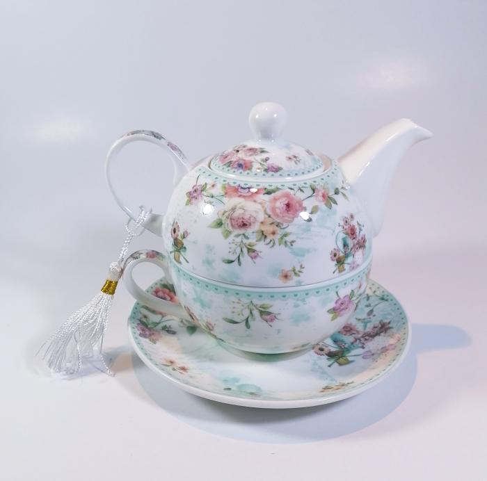 Set cu ceainic, ceasca si farfurie, portelan, Multicolor, 500 ml 0